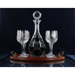 5 Piece Red Wine Panel Decanter And 4 Fully Cut Red Wine Glasses With Serving Tray Ballantynes Of Walkerburn