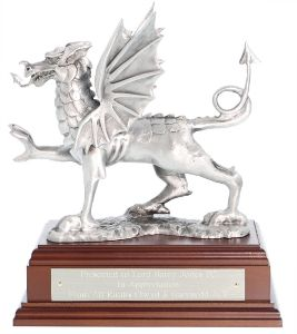 Buffed Pewter Welsh Dragon Statue